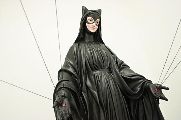 Hagiographies, Catwoman as saint, Igor Scalisi Palminteri, contemporary Italian art, Superhero art