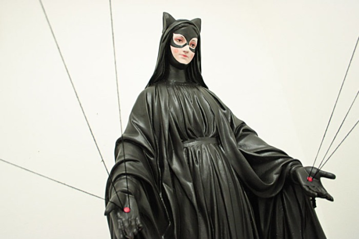 Hagiographies, Catwoman as saint, Igor Scalisi Palminteri, contemporary Italian art, Superhero art
