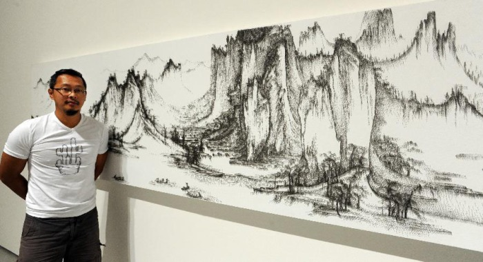 Paintings made with nails, imitating specific Chinese landscape paintings, contemporary Chinese art, cool art