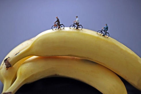 Humorous photos of miniatures on food, Disparity, Edible Worlds, contemporary photography