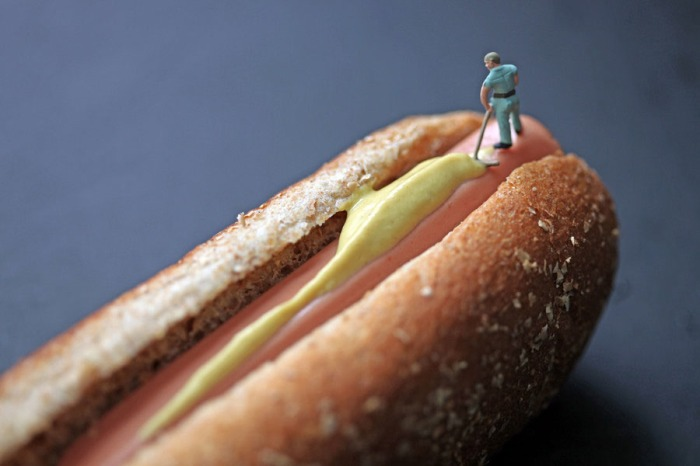 Edible Worlds, Christopher Boffoli, miniatures on food, hot dog, humorous photography, contemporary photos