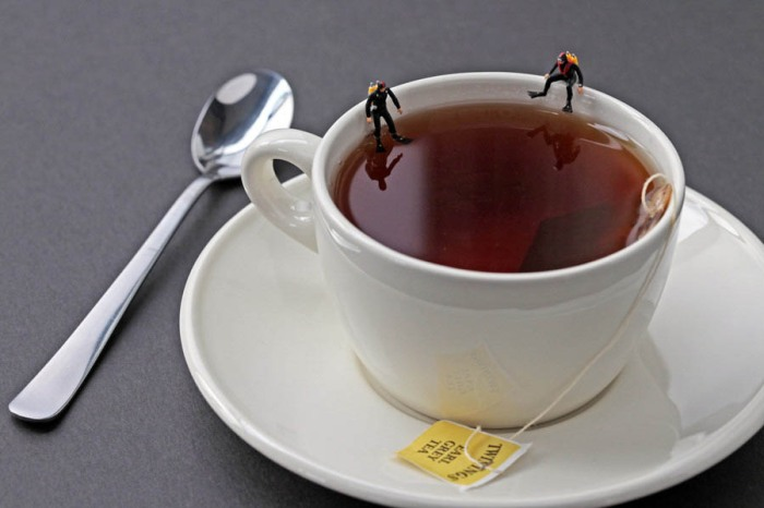 Edible Worlds, Christopher Boffoli, miniatures on food, tea cup, humorous photography, contemporary photos