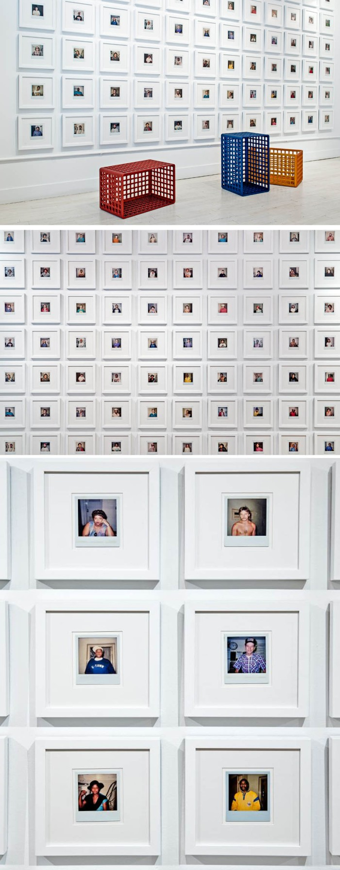 Installation with photos of prisoners in their cells, Cells by Frederick McSwain, NY Design Week 2012