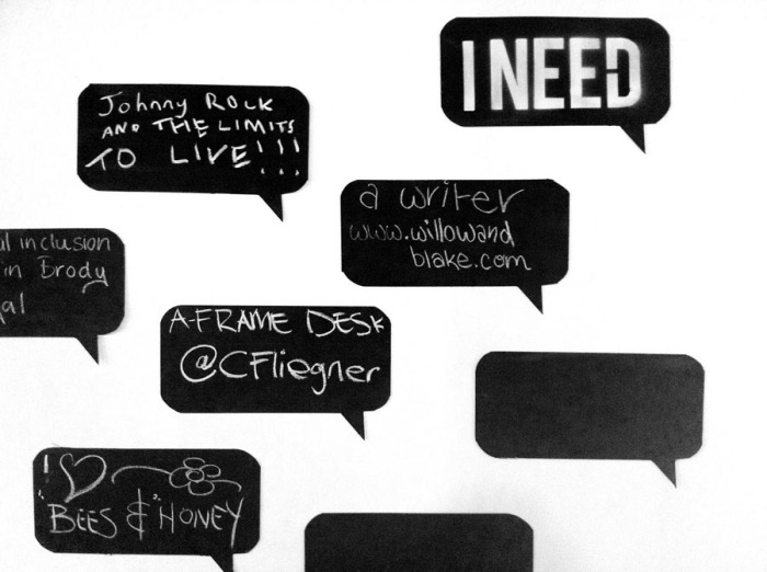 Interactive installation, swapping services via chalk speech bubbles, Collaborative consumption