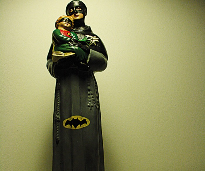 Hagiographies, Batman and Robin as Saints, Igor Scalisi Palminteri, contemporary Italian art, Superhero art