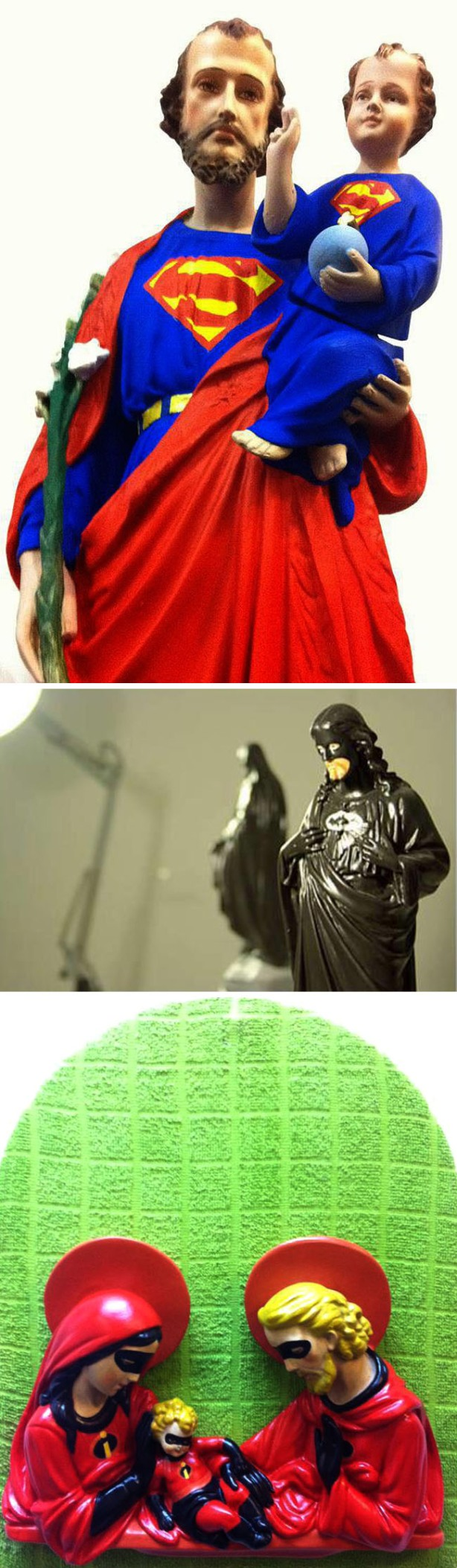 Hagiographies, Batman and Robin, Superman, and the Incredibles as Saints, Igor Scalisi Palminteri, contemporary Italian art, Superhero art