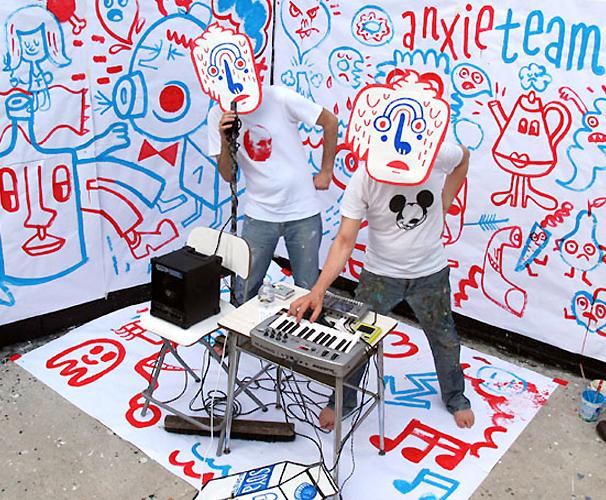 Jon Burgerman, Street artist, illustrator, fun, humorous, goofy, Bushwick Band, Anxieteam, Bushwick Dream