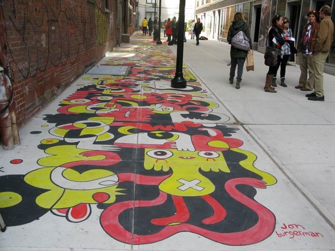 Jon Burgerman, Street artist, illustrator, fun, humorous, goofy, bright-colored characters