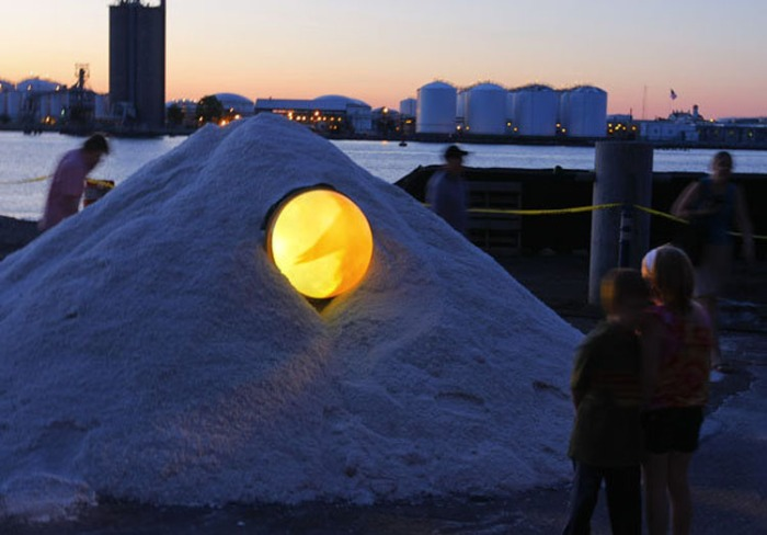 Lumen 2012, Staten Island, light and performance festival, Atlantic Salt piles in New Brighton, Staten Island, NYC