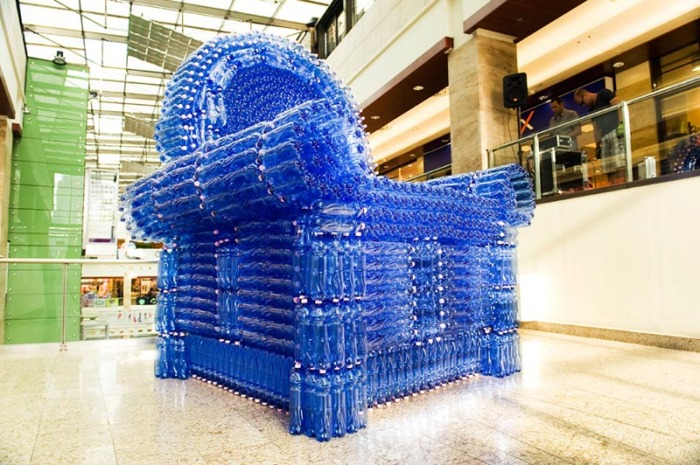 Giant chair made with PET water bottles, Budapest, Gyula Varnai, Hungarian contemporary art and design