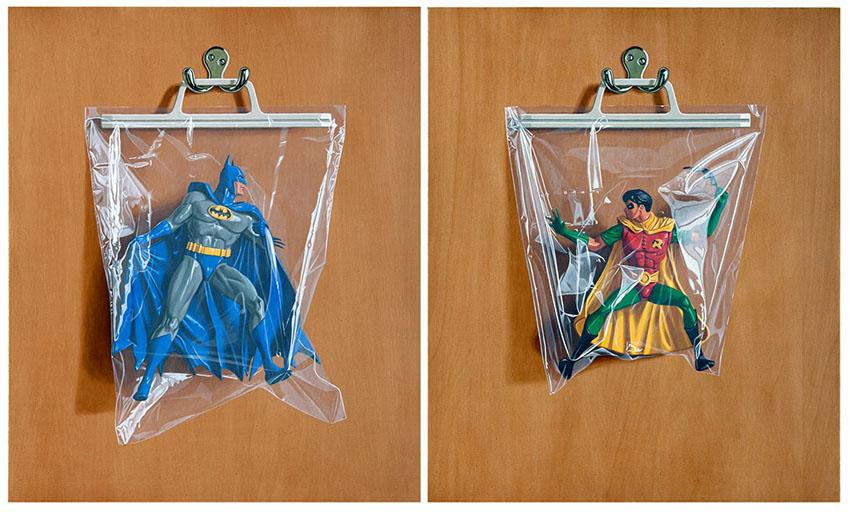 Simon Monk, paintings of superheroes in plastic bags, Oh Plastik Sack exhibit,