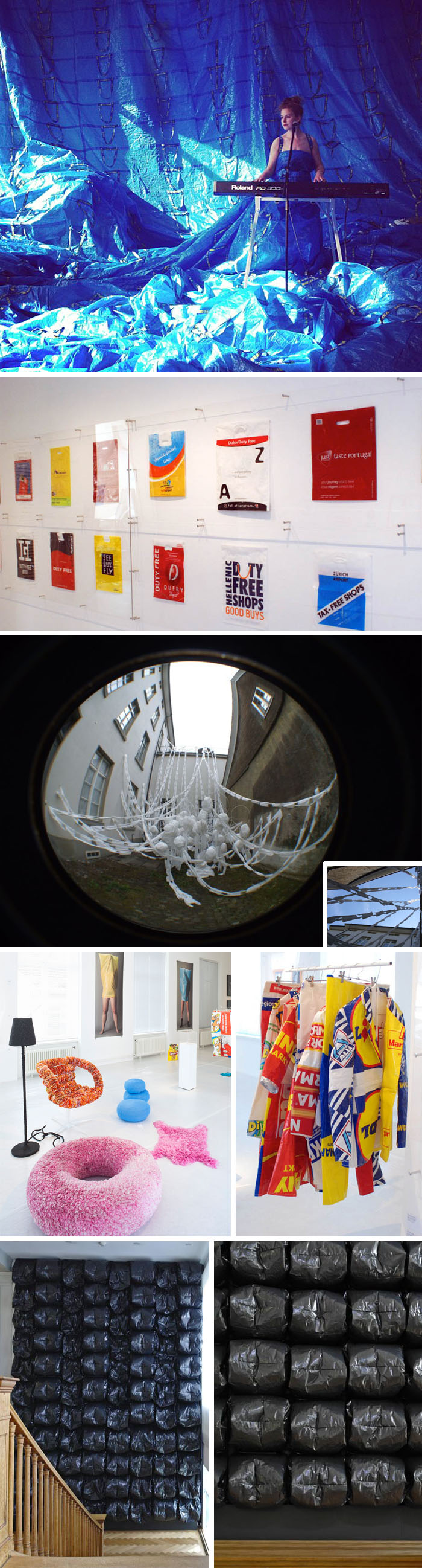 Plastic bag exhibit, art installations, products, photographs, made with plastic bags