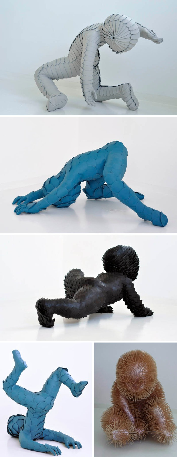 Sculptures with childlike characteristics yet animal-looking, made with leather, synthetic materials andtoothpicks
