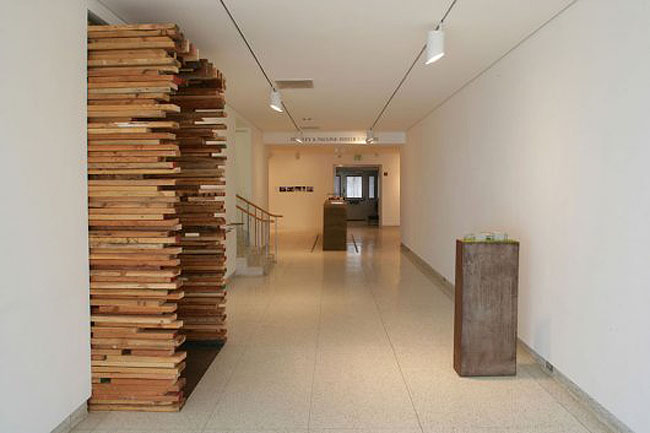 MIX exhibit installation for Museum of Contemporary Art San Diego, Sebastian Mariscal architect, cool wood entrance installation