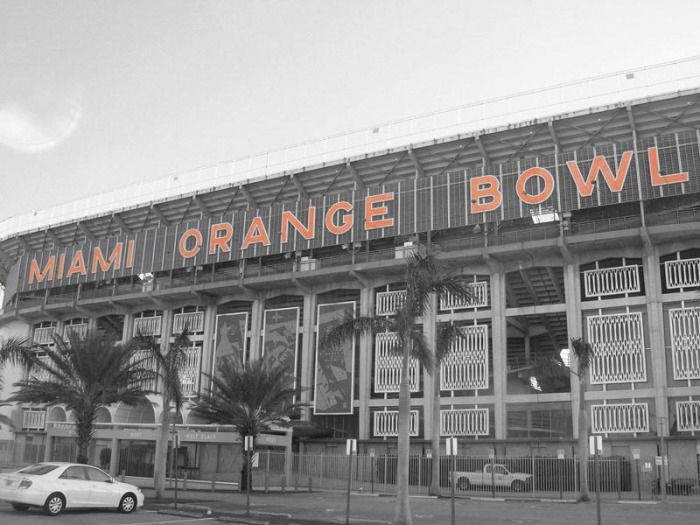 Typographic Installation, Typography as sculpture, Orange Bowl Type as memorial, Miami, Snarkitecture