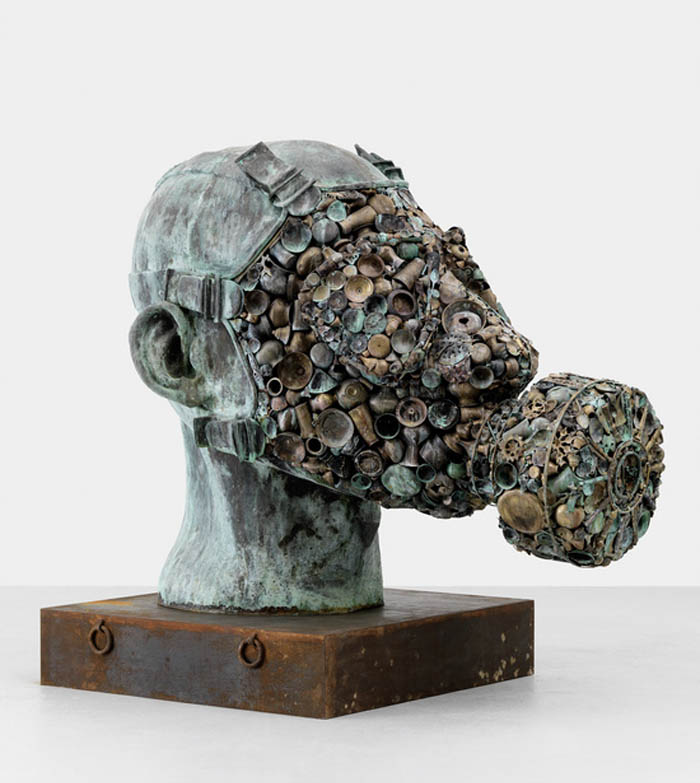 contemporary sculpture from India, Subodh Gupta, Gas Mask, Sculpture made with pots, pans and utensils