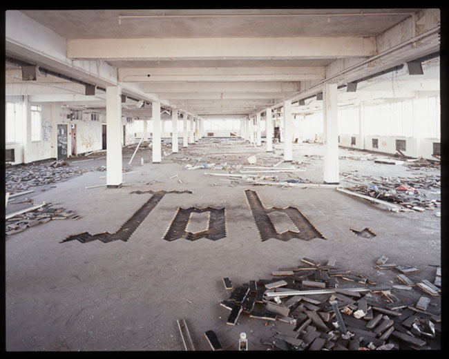 Typography installation, Large Type, Church, Job, Typography created from objects in abandoned office space,