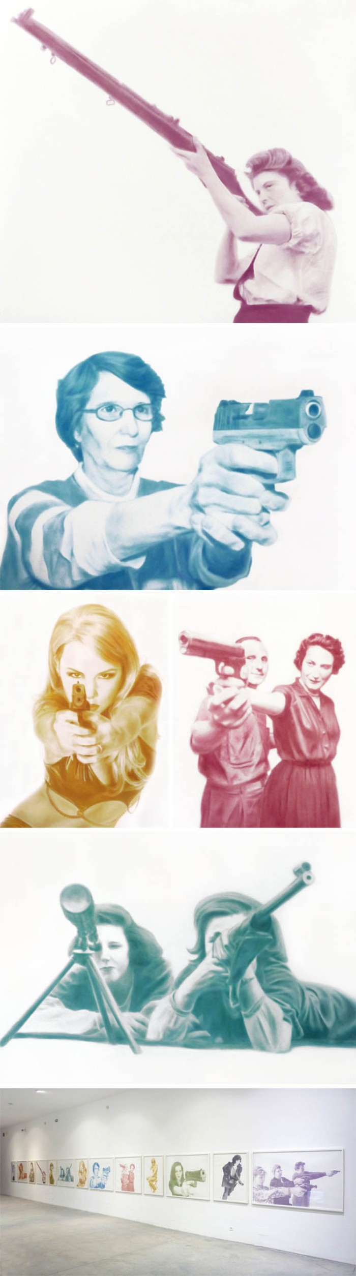 Drawings of women shooting by Brigitte Zieger in eye shadow