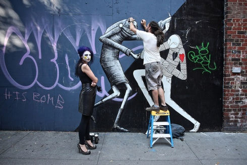 English Street Art in NYC, Phlegm with Know Hope, East Village, street art, graffiti