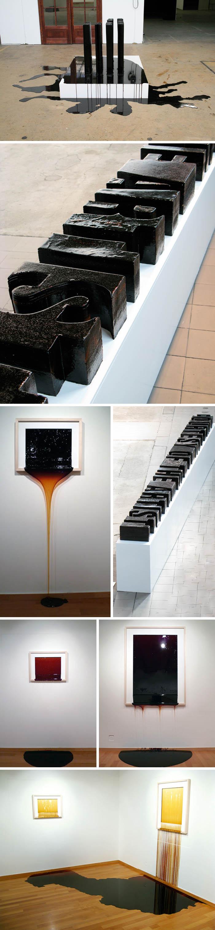 Typography, cool sculptures and artwork made of burnt sugar that melt, Jonas Etter, contemporary Swiss art
