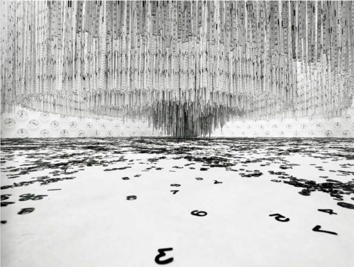 Cool art installation, hanging rulers, wall clocks and vinyl type, interactive art, Brazilian contemporary art, Cildo Meireles