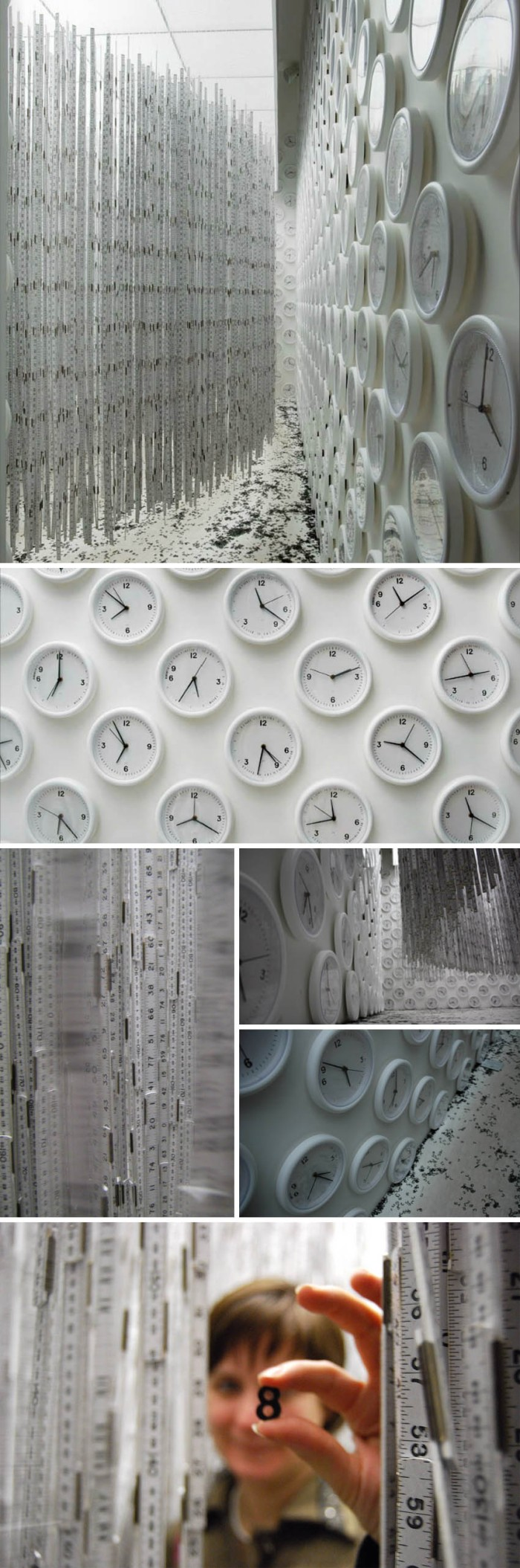 Cool art installation, hanging rulers, wall clocks and vinyl type, interactive art, Brazilian contemporary art, Cildo Meireles