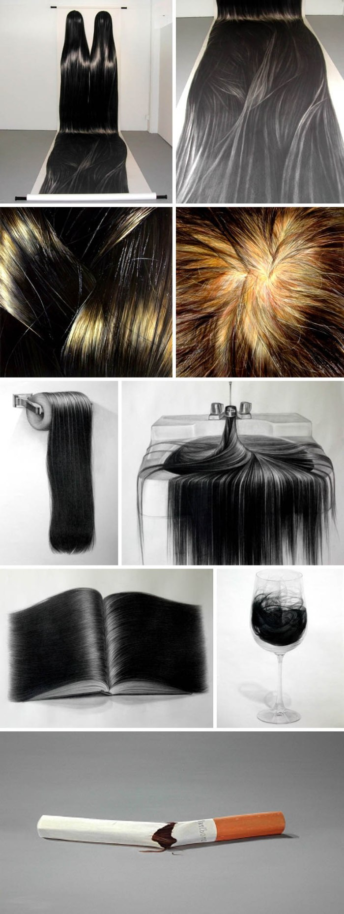amazing realistic charcoal drawings and oil paintings of hair by Hong Chun Zhang, Chinese contemporary art