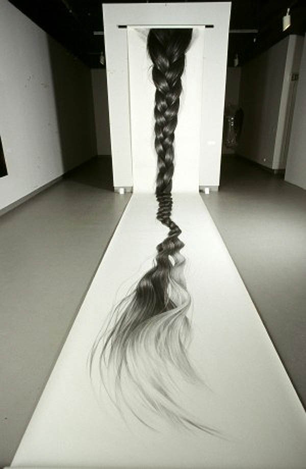 amazing realistic charcoal drawings of hair by Hong Chun Zhang, Chinese contemporary art