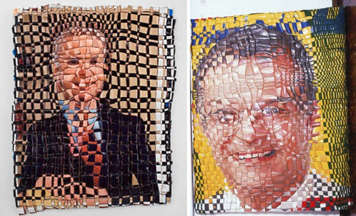 Vinyl campaign posters woven together to create an interesting effect, Jarbas Lopes, Brazilian art