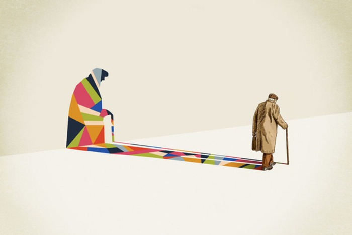 illustrations with colorful geometric patterned shadows by Jason Ratliff