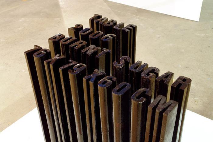 Typography, cool sculptures made of burnt sugar that melt, Jonas Etter, contemporary Swiss art