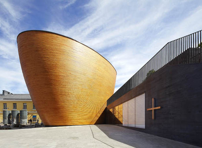 Cool Chapel design in Helsinki, Finland. Wood design architecture, K2S Architects, Kamppi Chapel
