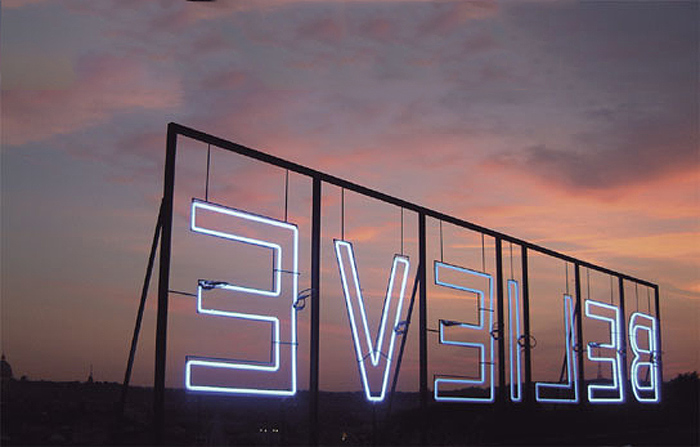 Neon typography installation, Kendell Geers, Believer, Cool typography, art installation