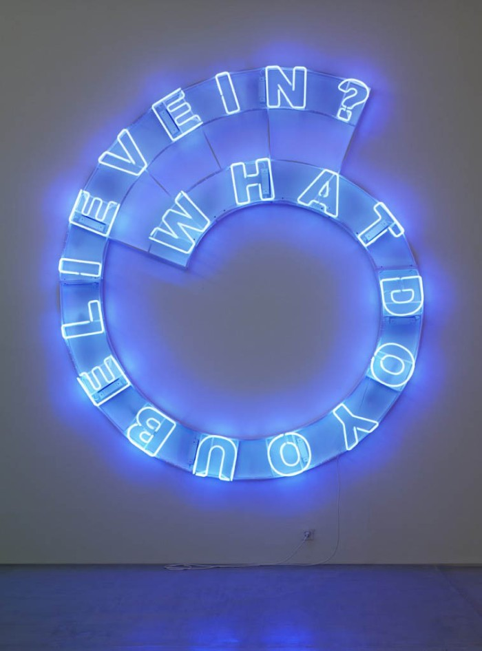 Neon typography installation, Kendell Geers, What do you believe in, Cool typography, art installation