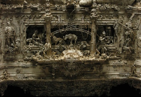 Incredibly intricate sculptures of gods, goddesses, monsters, and war, sacred cow, Kris Kuksi,