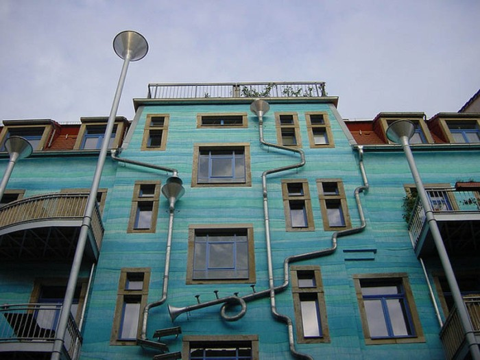 Kunsthof Passage, musical rain facade, gutters and funnels as instruments, dresden, germany, fun building