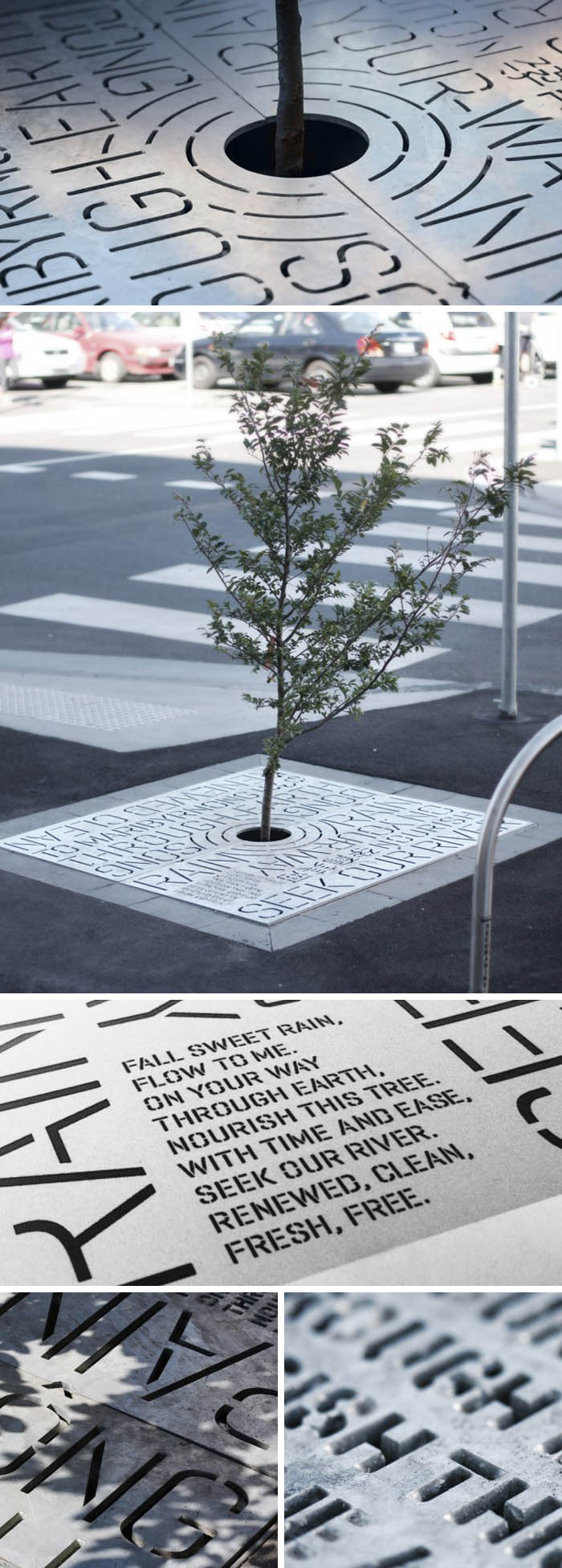 Typography, cool tree grates, environmental graphics, Melbourne, Australia, Typography in architecture