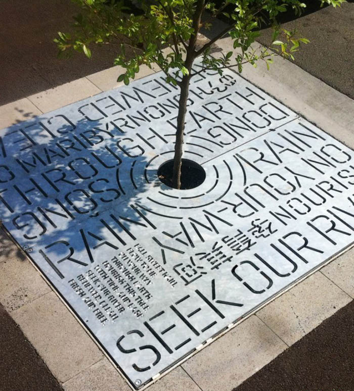 Typographic Tree Grates in Melbourne, Australia, designed by HeineJones, SEGD Merit 2012