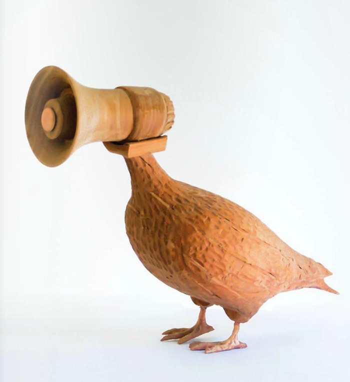 Chilean contemporary art, Manuela Viera-Gallo, wooden pigeon sculpture with megaphone