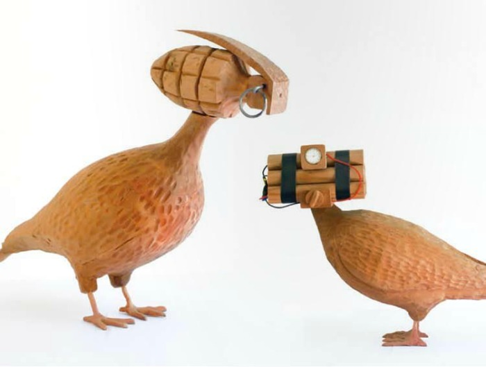 Chilean contemporary art, Manuela Viera-Gallo, wooden pigeon sculptures with explosives for heads