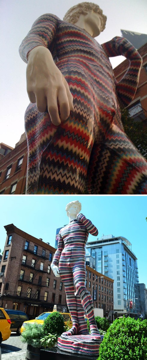 Missoni sculpture in Meatpacking district, NYC, dEmo and Luca Missoni collaboration, The David, fun sculpture, installation