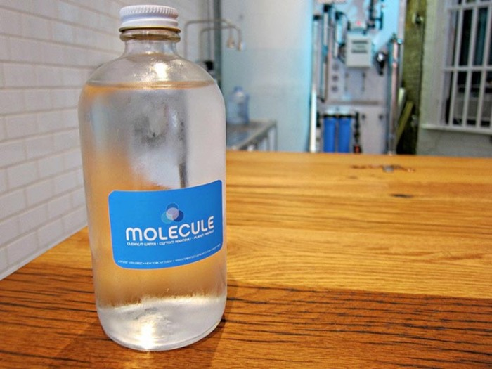 Purified tap water cafe in East Village, NYC, to-go and refill options. Molecule