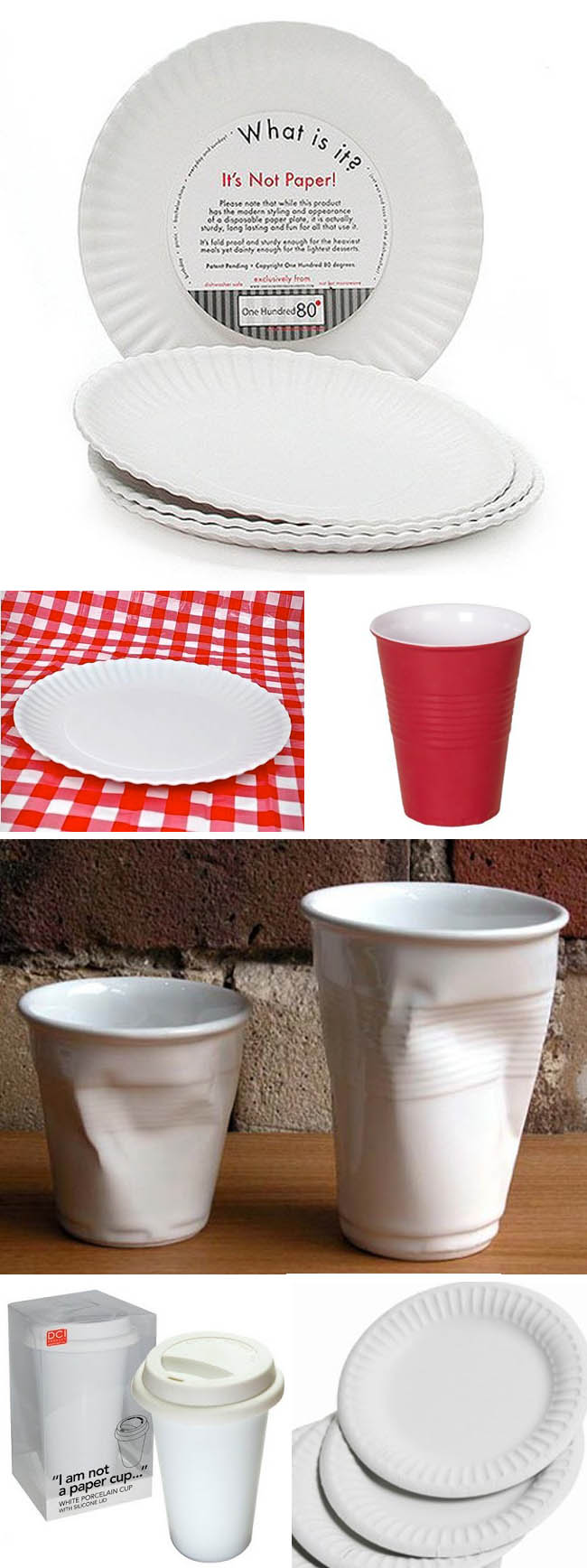 Paper Plates made in melamime, cool tableware, fun tableware, fun design, paper cups in porcelain, It's Not Paper!