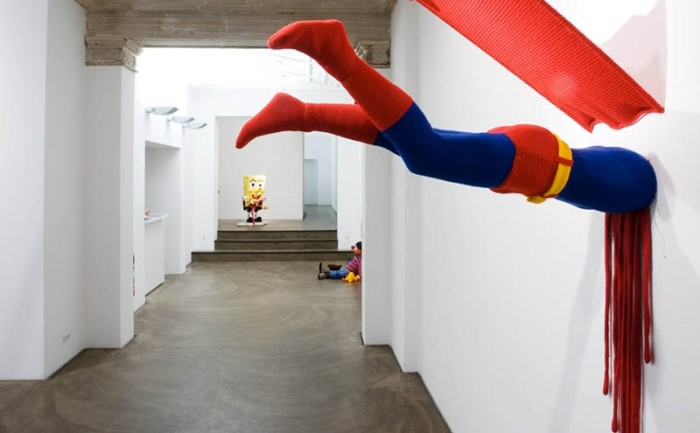 Superhero art, Patricia Waller, Galerie Deschler, Broken Heroes, Superheroes and childhood characters in unfortunate situations