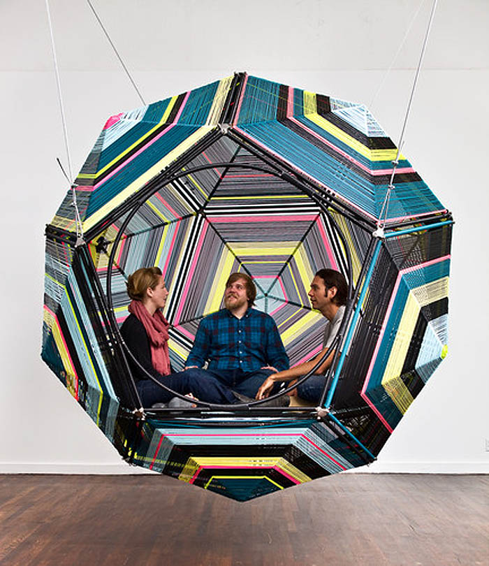 Capsules, Capulas, Swings, cocoon-like structures by Pedro Reyes, contemporary Mexican artist