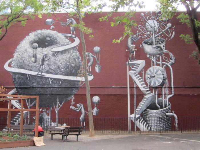 English Street Art in NYC, Phlegm, West 17th Street mural, Chelsea, street art, graffiti