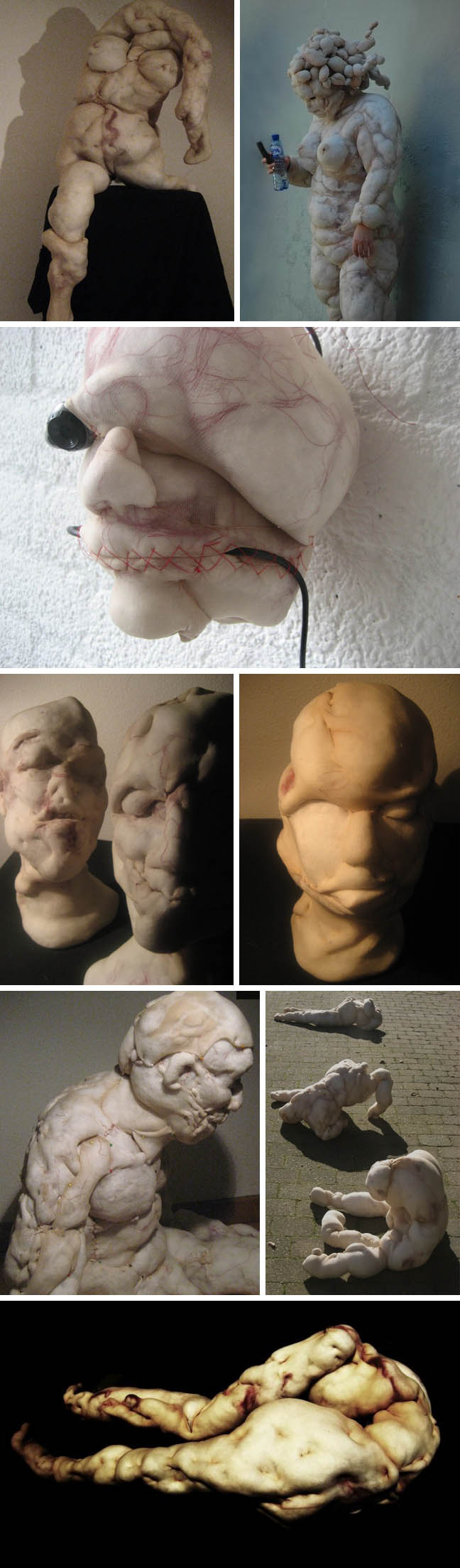 Nylon soft sculptures, Dutch contemporary art, Rosa Verloop, Creepy portraits, disturbing cabbage patch doll like sculptures