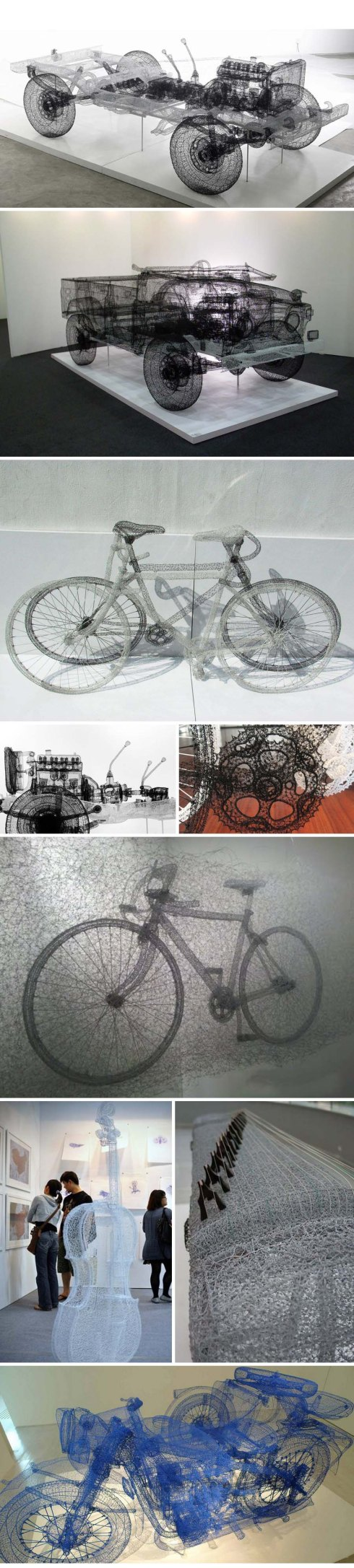 Contemporary Chinese art, intricate Wire sculptures of motorcycles, jeeps, bicycles and cello, cool art