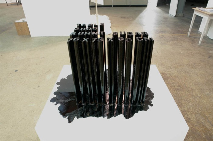 Typography, cool sculptures made of burnt sugar that melt, Jonas Etter, contemporary Swiss art