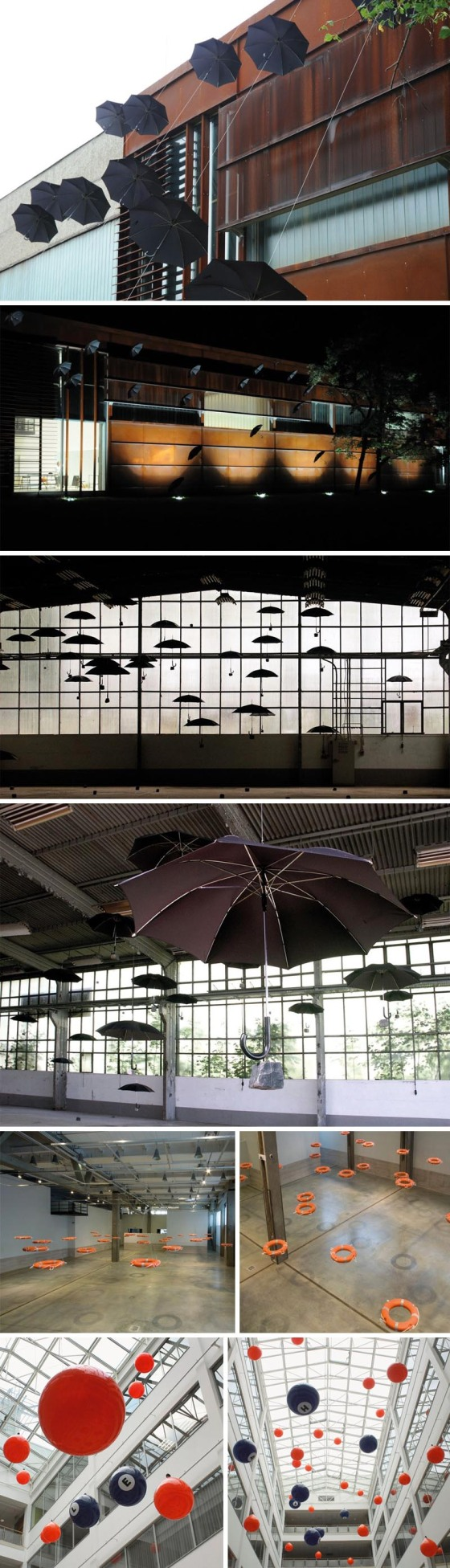 Ottó Vincze, Hungarian contemporary Art, Installations with flying umbrellas, Life preservers, balloons, cool installations